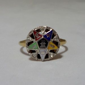 Order of the Eastern Star OES 14K EP Gold Ring 9.5